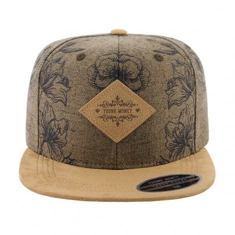 BONE ABA RETA YOUNG MONEY SNAPBACK FLORAL MARROM